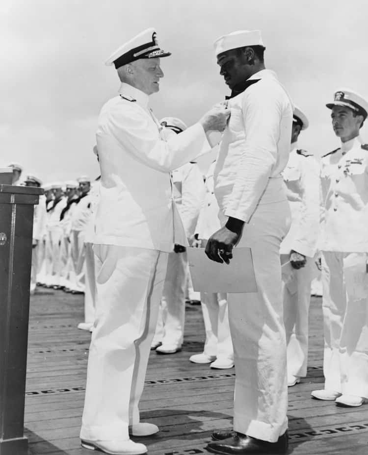 Doris Miller Being Pinned With A Navy Cross - 1942