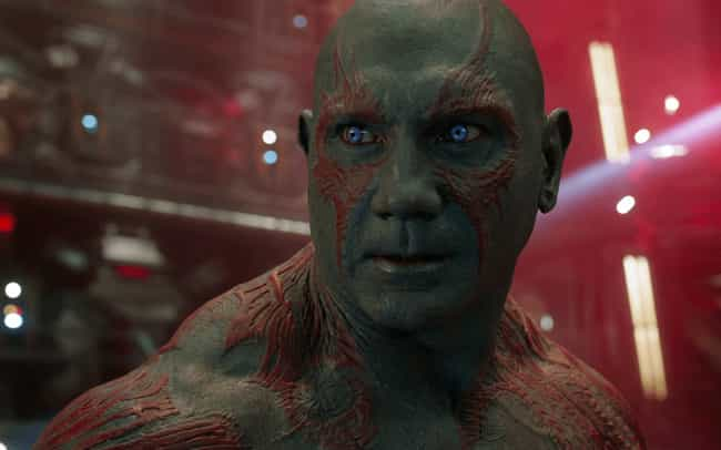 Drax the Destroyer is listed (or ranked) 4 on the list The Dumbest Characters In The Marvel Cinematic Universe, Ranked