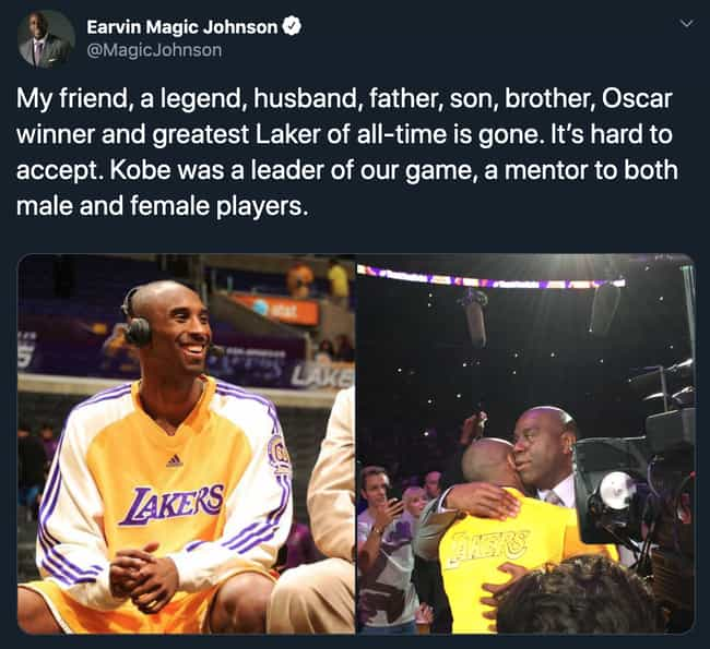 Magic Johnson is listed (or ranked) 3 on the list Heartbroken Athletes React To Kobe Bryant's Death