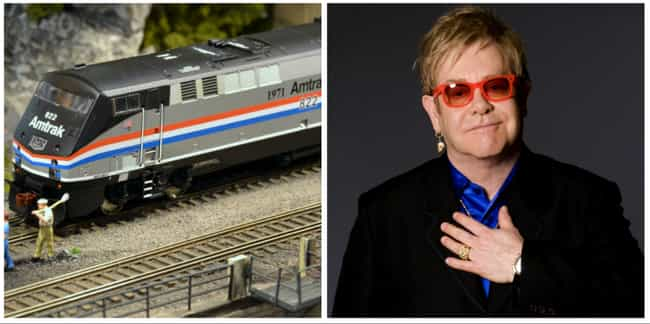 Elton John is listed (or ranked) 2 on the list 30 Famous Model Train Hobbyists