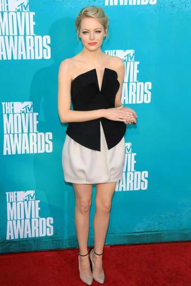 Emma Stone is listed (or ranked) 4 on the list The Most Beautiful Celebrity in a Black & White Dress