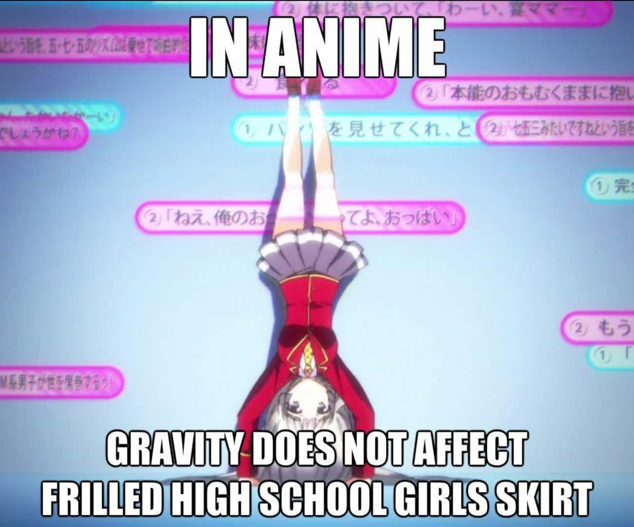 High School Girls Skirts is listed (or ranked) 4 on the list 25 Examples Of Silly Anime Logic That Fans Just Roll With