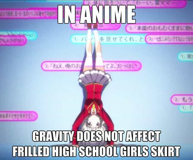 Anime is listed (or ranked) 4 on the list 25 Examples Of Silly Anime Logic That Fans Just Roll With