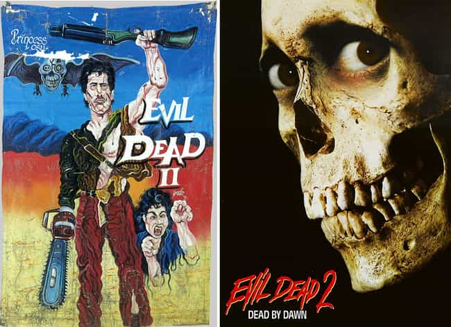 Evil Dead II is listed (or ranked) 4 on the list Delightfully Inaccurate Movie Posters From Ghana Vs. Their American Counterparts