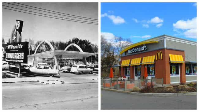McDonalds is listed (or ranked) 4 on the list Here's What Popular Fast Food Chains Looked Like When They Debuted