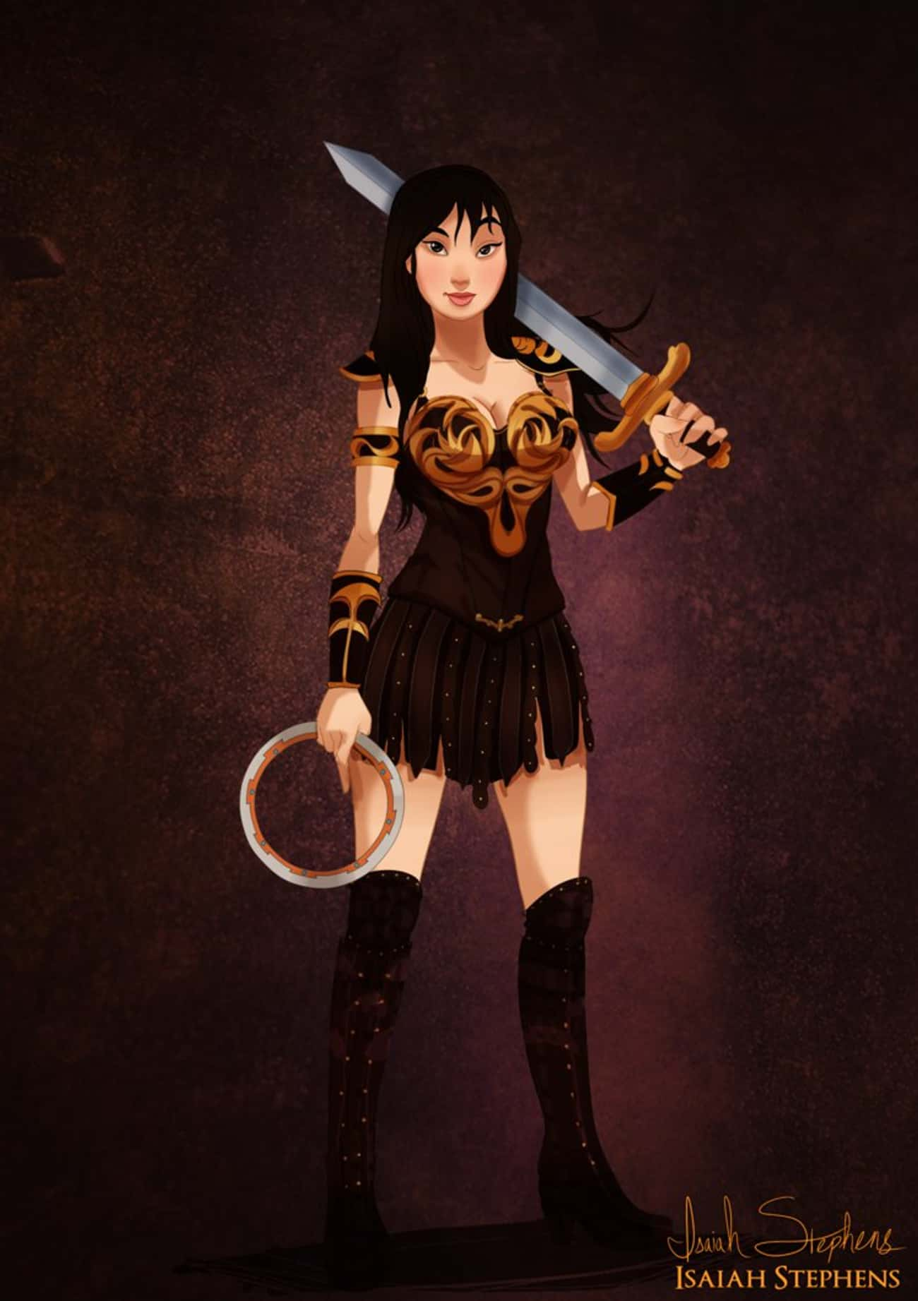 Mulan Channels Her Inner Xena  is listed (or ranked) 2 on the list This Artist Drew Your Favorite Disney Characters All Dressed Up For Halloween