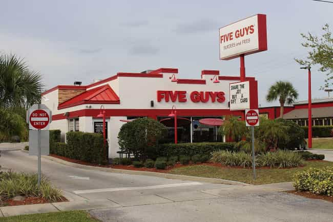 Five Guys is listed (or ranked) 4 on the list The Fast Food You Could Eat Every Day If You Had To