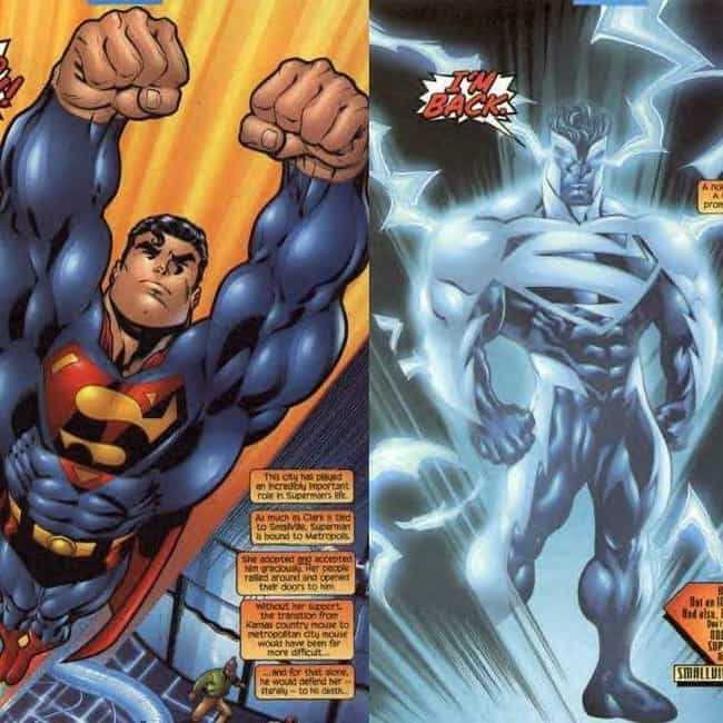 Electric Superman is listed (or ranked) 2 on the list The 10 Lamest Superhero Costume Designs Ever
