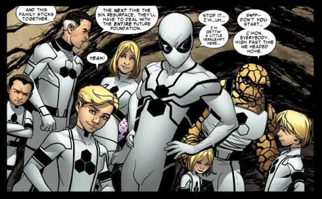 Future Foundation Spider... is listed (or ranked) 3 on the list The Greatest Spider-Man Costumes of All Time