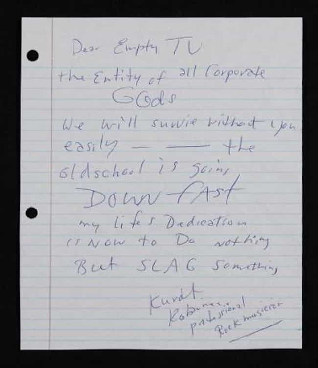 Nirvana's angry letter to MTV is listed (or ranked) 4 on the list The Top Five Pieces Of Kurt Cobain And Nirvana Memorabilia
