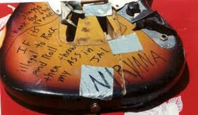 Kurt's smashed Fender Mustang ... is listed (or ranked) 2 on the list The Top Five Pieces Of Kurt Cobain And Nirvana Memorabilia