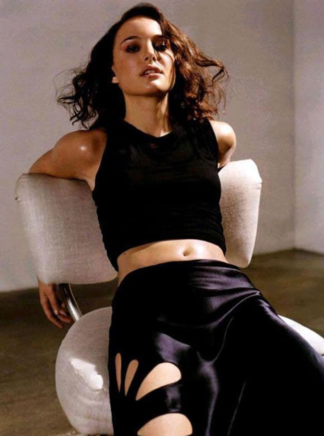 Natalie Portman In Black Satin Skirt