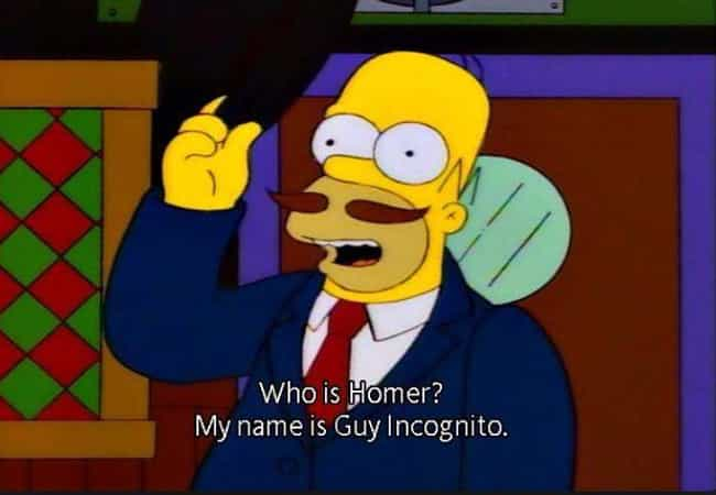 Guy Incognito is listed (or ranked) 1 on the list The 10 Most Memorable Simpsons Alter-Egos