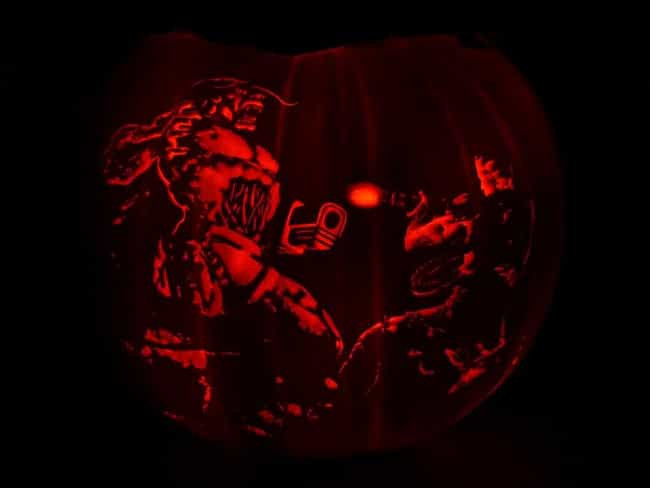 Doom II Cover Pumpkin is listed (or ranked) 3 on the list The Most Epic Halloween Gaming Pumpkins of All Time
