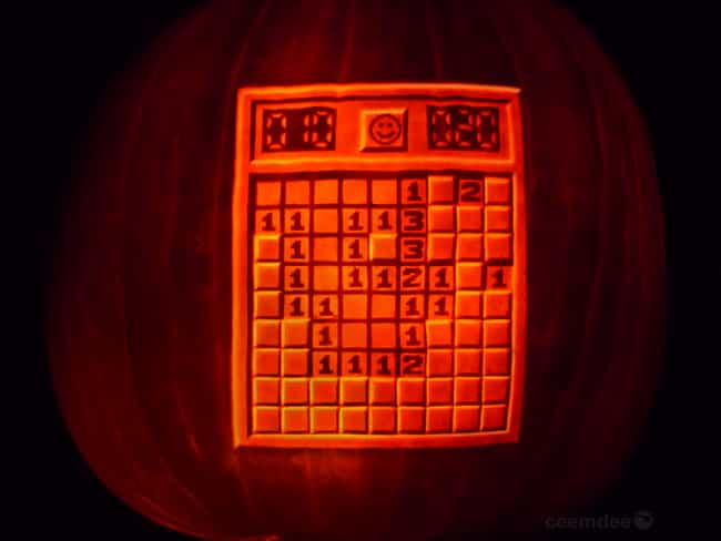 MineSweeper Pumpkin is listed (or ranked) 1 on the list The Most Epic Halloween Gaming Pumpkins of All Time