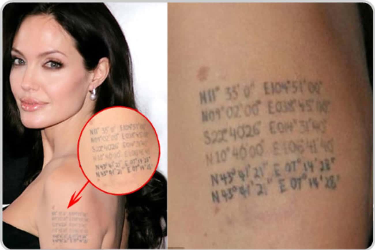 Geo-Coordinates Tattoo is listed (or ranked) 4 on the list Angelina Jolie Tattoos
