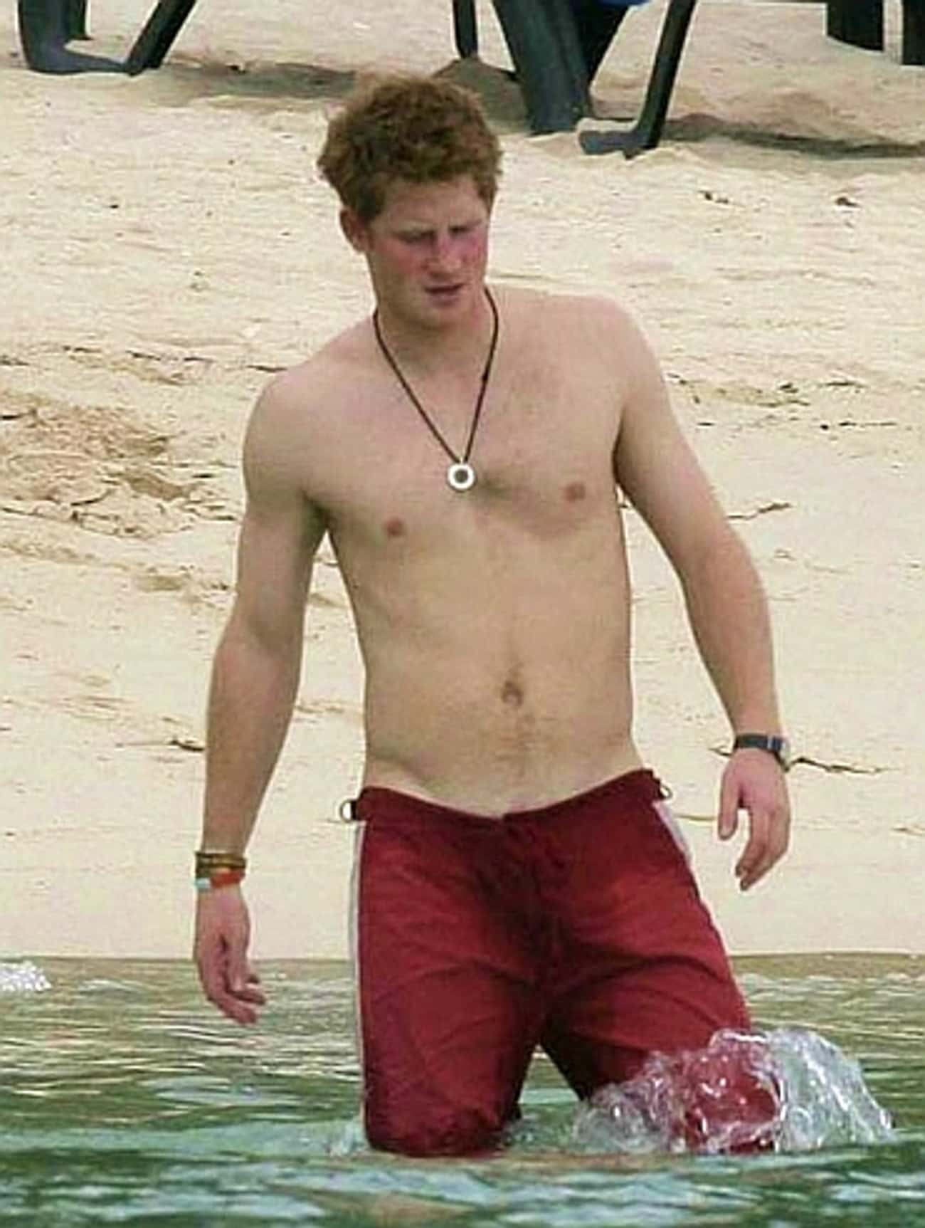 Prince Harry in Red Beach Shorts