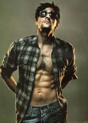 Adrien Brody in Checkered Long Sleeve with Denim Jeans
