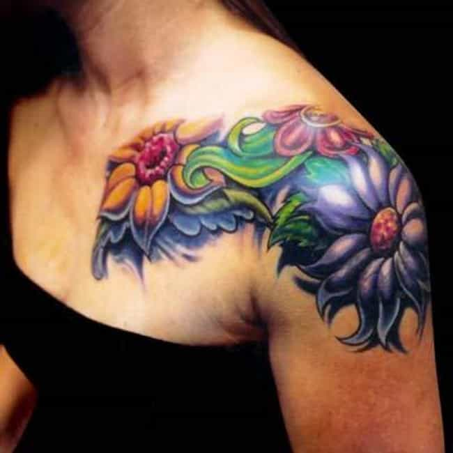 Flower Shoulder Tattoos is listed (or ranked) 3 on the list Shoulder Tattoo Designs
