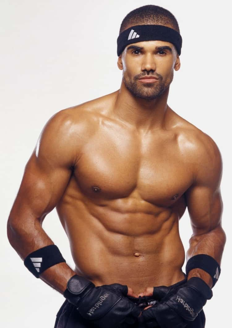 Shemar Moore in Shirtless with Black Adidas Shorts