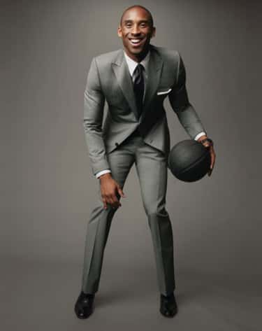 Kobe Bryant in 2 Button Grey Slim Fit Tuxedo