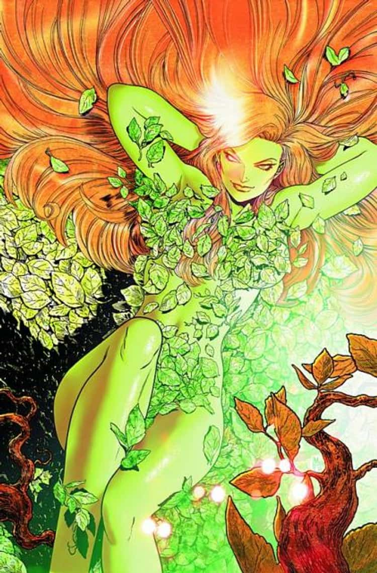 Poison Ivy in Nude Pose covered with Leaves