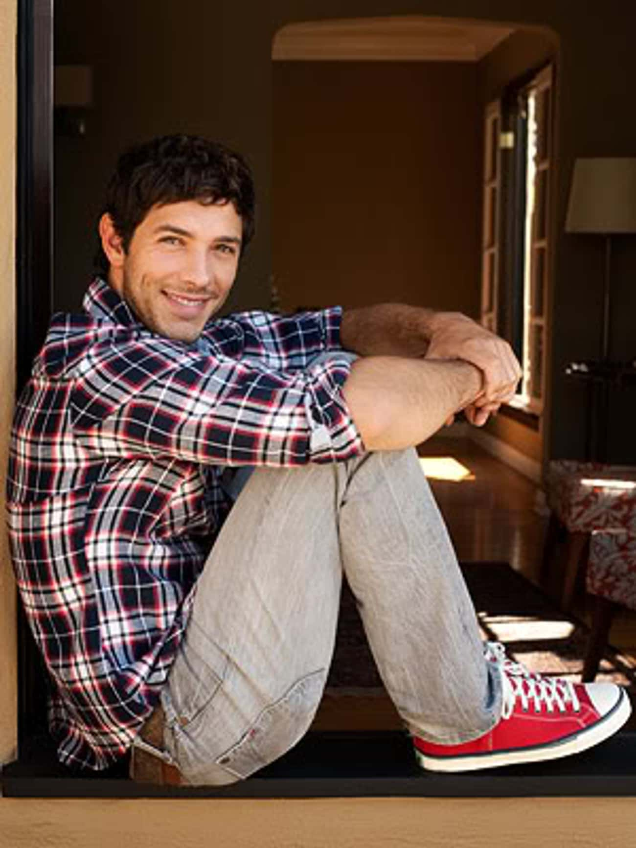 Michael Rady in Checkered Long Sleeve Shirt