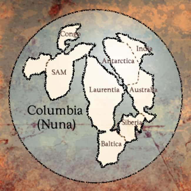 Columbia is listed (or ranked) 4 on the list The Earth's Known SuperContinents