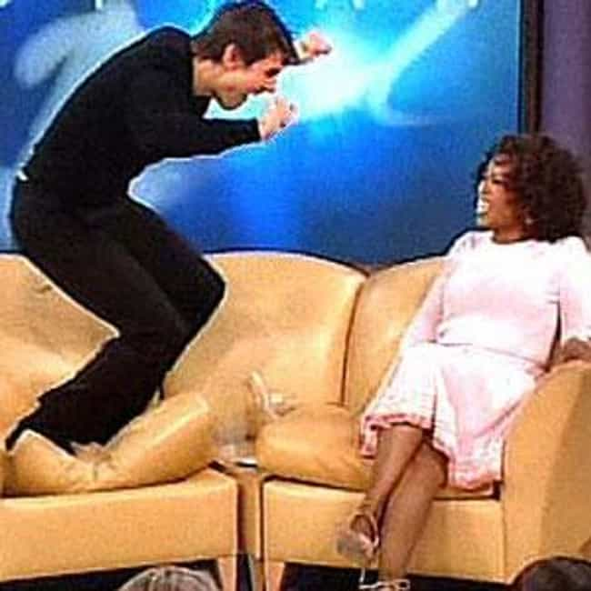 Tom Cruise Jumps on Oprah's Co... is listed (or ranked) 1 on the list The 7 Creepiest Tom Cruise/Katie Holmes Moments