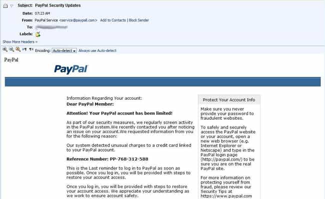 Phishing Scams is listed (or ranked) 2 on the list Types of Spam E-mails