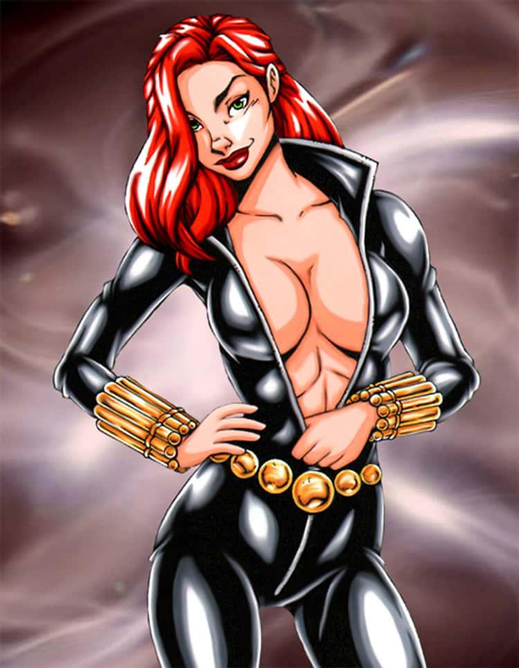 Black Widow in Deep Front Black Suit