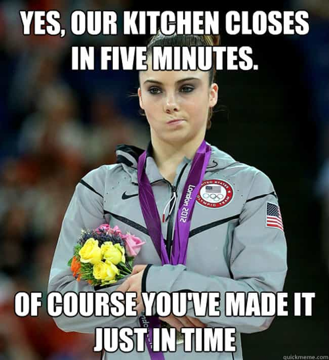 Waitressing is listed (or ranked) 1 on the list The Very Best of the McKayla Is Not Impressed Meme