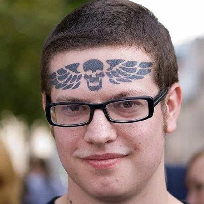 Forehead is listed (or ranked) 1 on the list The Worst Place to Get a Tattoo