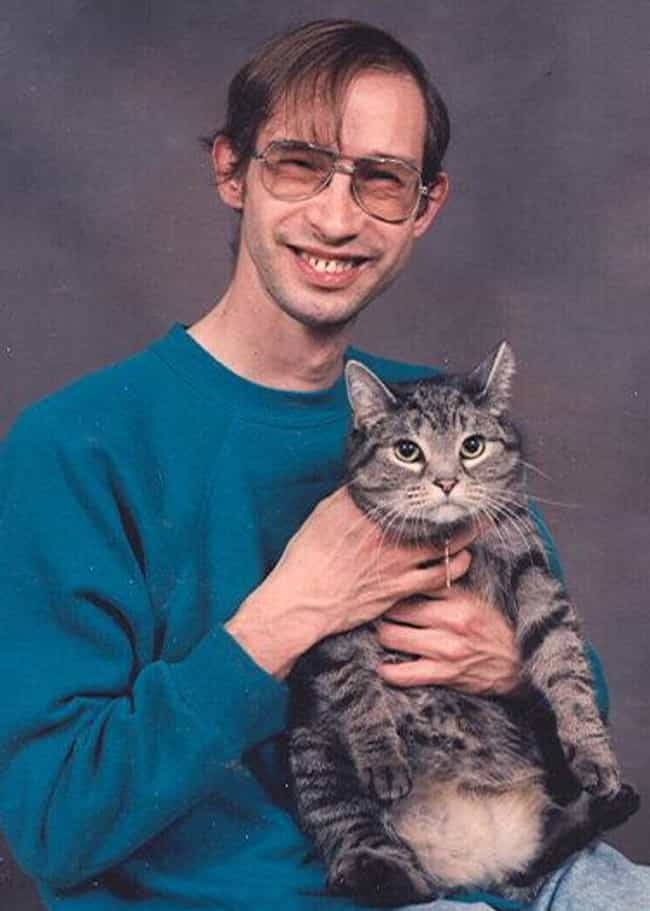 Nerd With Cat is listed (or ranked) 4 on the list The Absolute Worst Pictures of Men Holding Cats