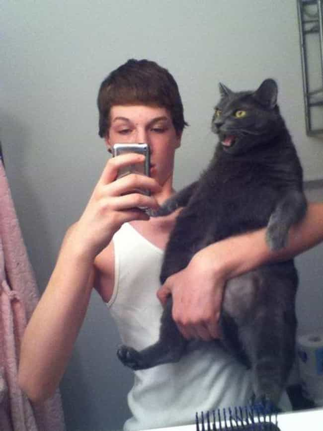 Awkward Selfie, Angry Cat is listed (or ranked) 1 on the list The Absolute Worst Pictures of Men Holding Cats