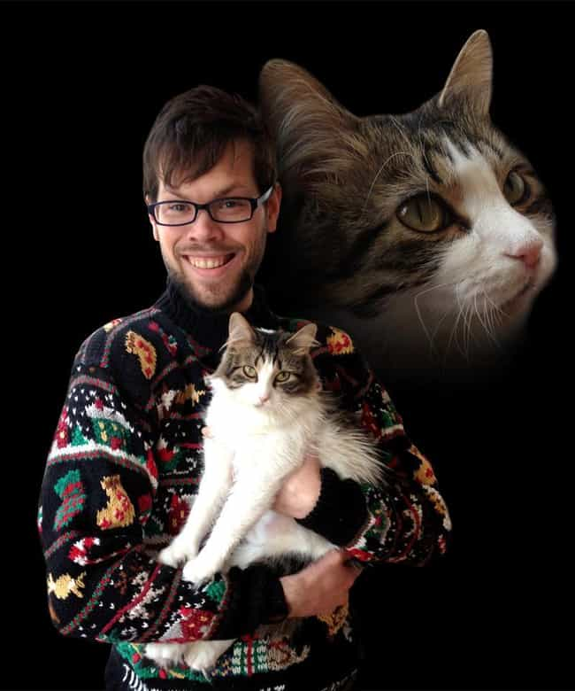 Ugly Christmas Sweater P... is listed (or ranked) 2 on the list The Absolute Worst Pictures of Men Holding Cats