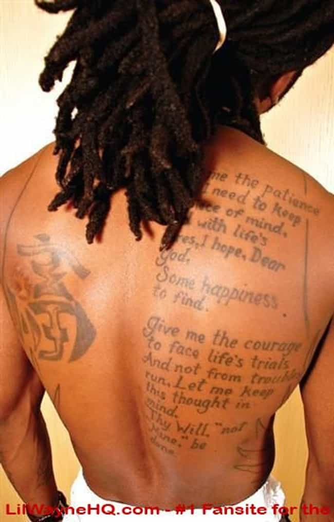 Prayer is listed (or ranked) 1 on the list Lil Wayne Tattoos