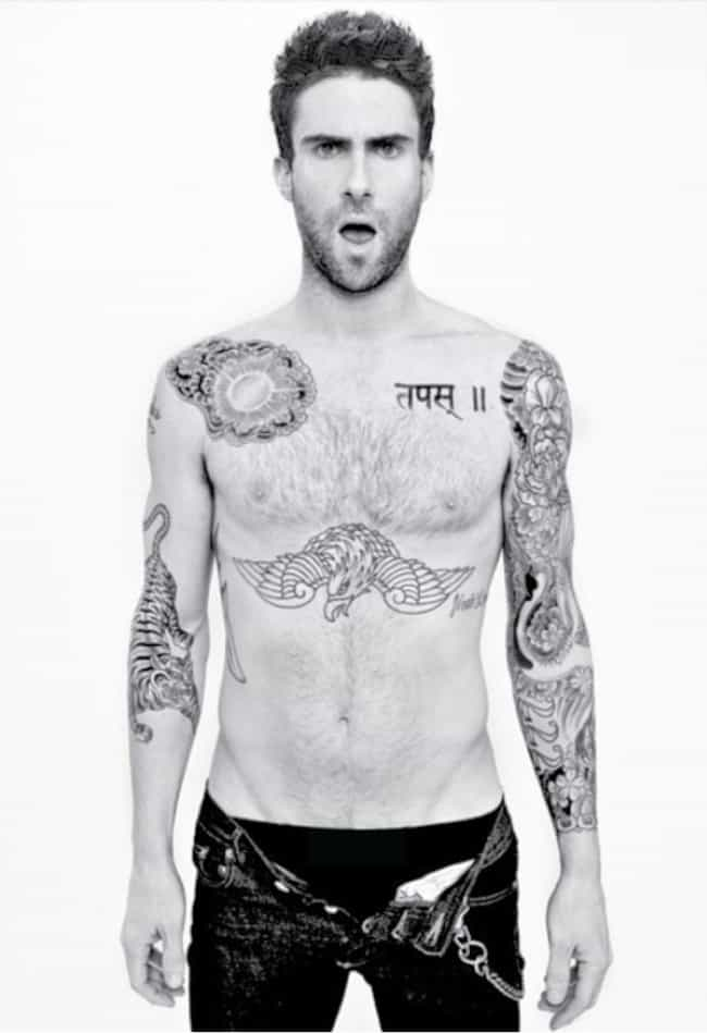 222 is listed (or ranked) 8 on the list Adam Levine Tattoos