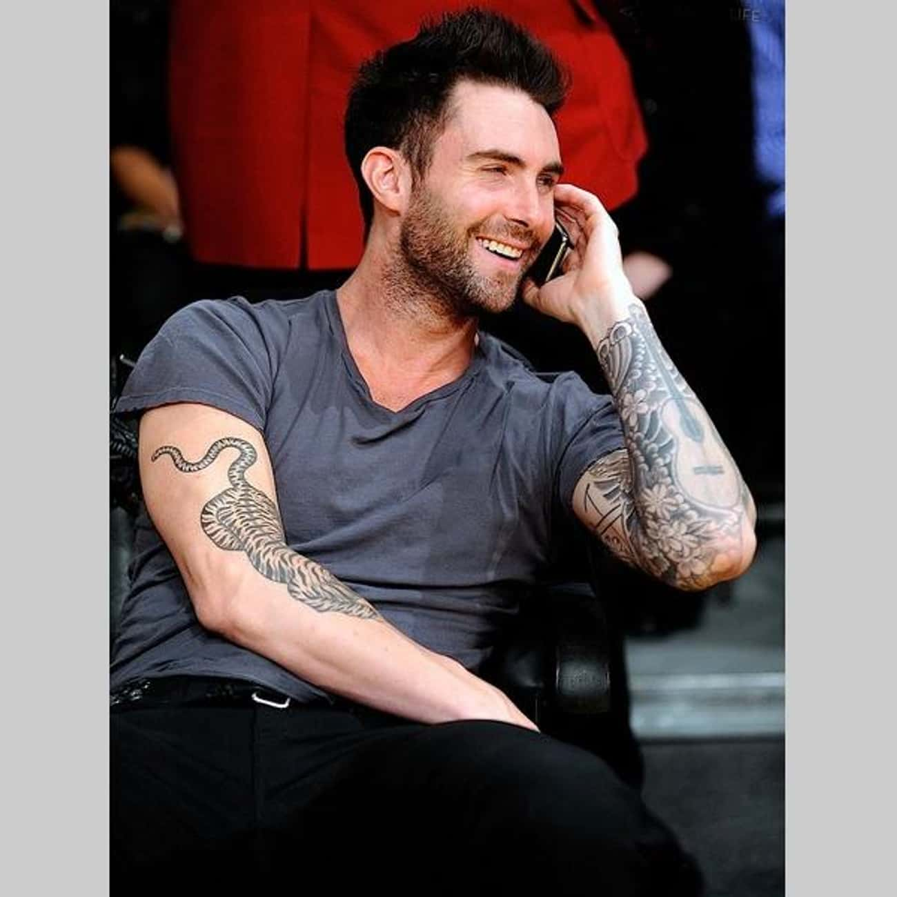Guitar is listed (or ranked) 3 on the list Adam Levine Tattoos
