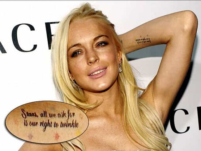 Stars is listed (or ranked) 4 on the list Lindsay Lohan Tattoos