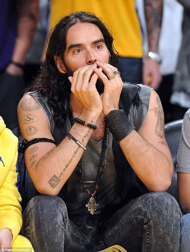 Om Tattoo is listed (or ranked) 2 on the list Russell Brand Tattoos