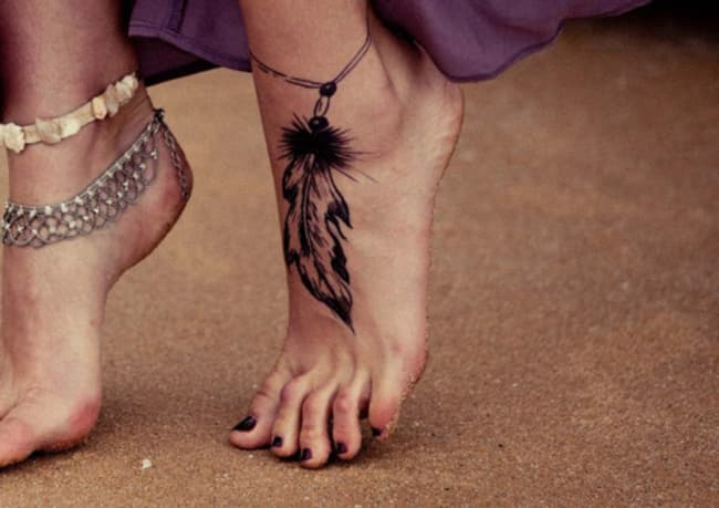 Feather Foot Tattoos