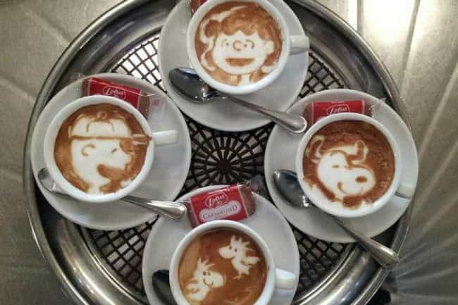 The Peanuts Gang is listed (or ranked) 2 on the list 51 Works of Latte Art You'll Never Want to Drink Away