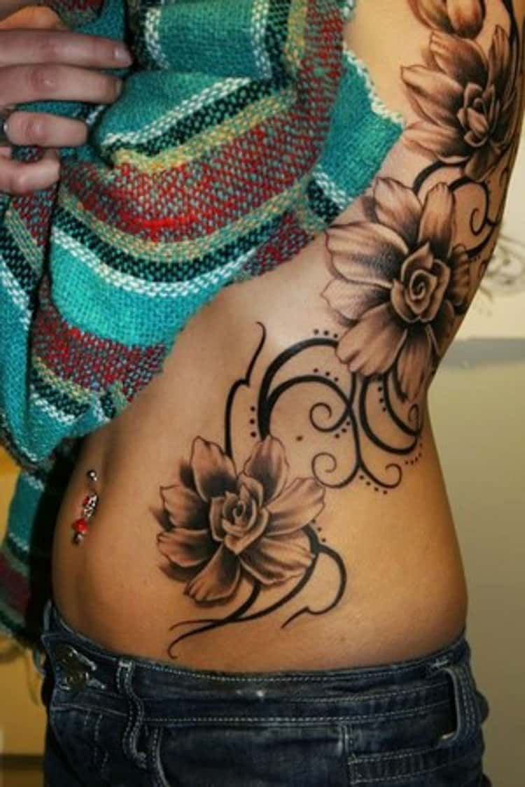 Swirl Flower Tattoos