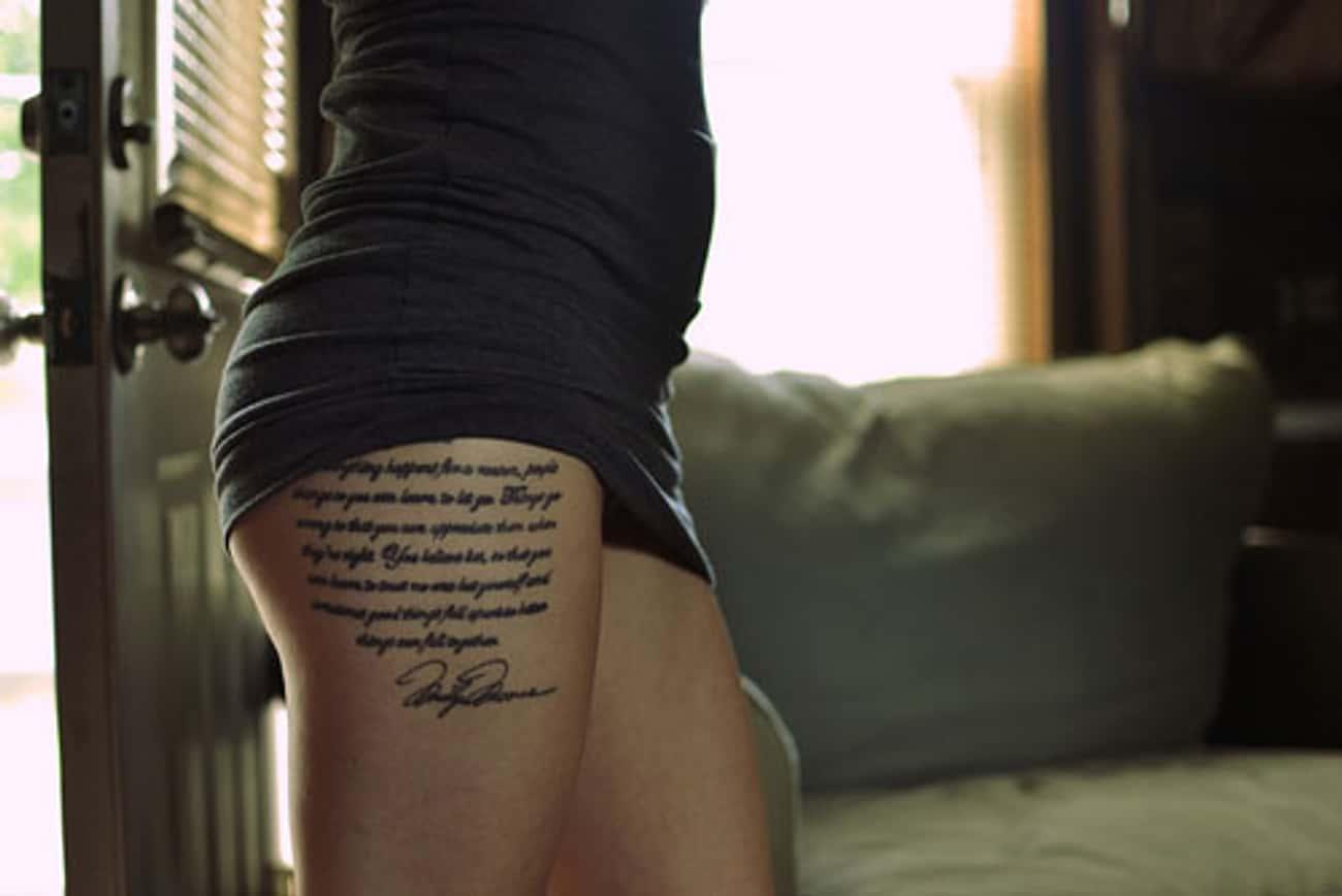 Words Thigh Tattoos