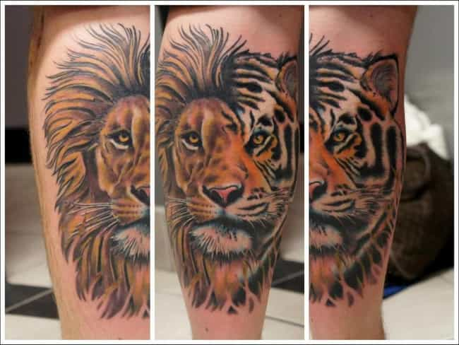 Tiger Calf Tattoos is listed (or ranked) 3 on the list Calf Tattoos and Designs