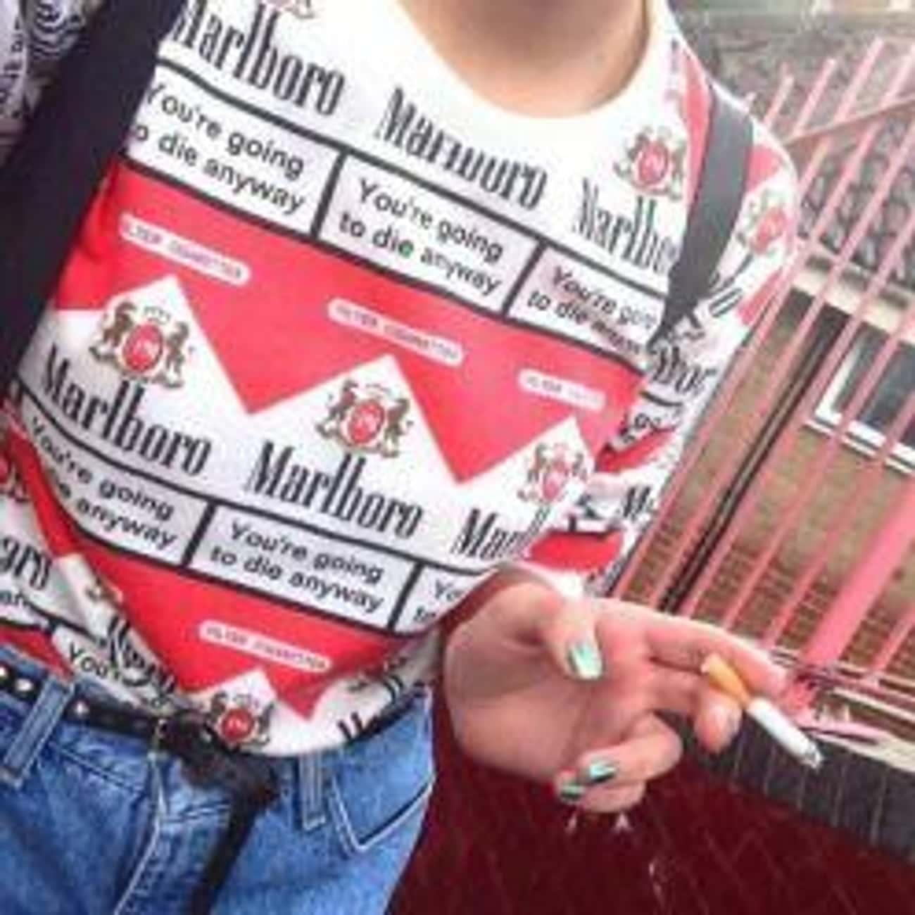Marlboro is listed (or ranked) 1 on the list T-Shirts You Regret Wearing as a Kid in the '90s