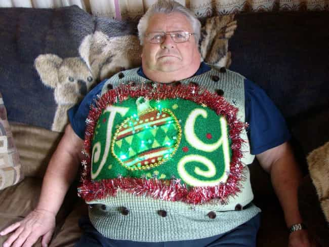 The Greatest Joy In Life... is listed (or ranked) 4 on the list The Ugliest Christmas Sweaters of All Time