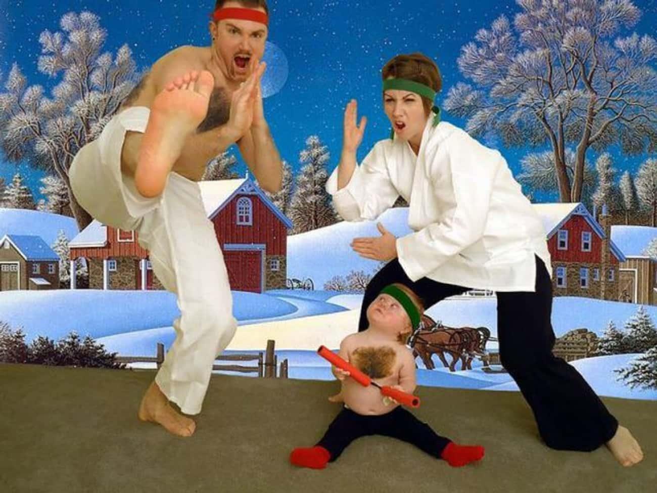 Christmas Ninja Roundhouse Kic is listed (or ranked) 4 on the list Awkwardly Hilarious Family Christmas Photos