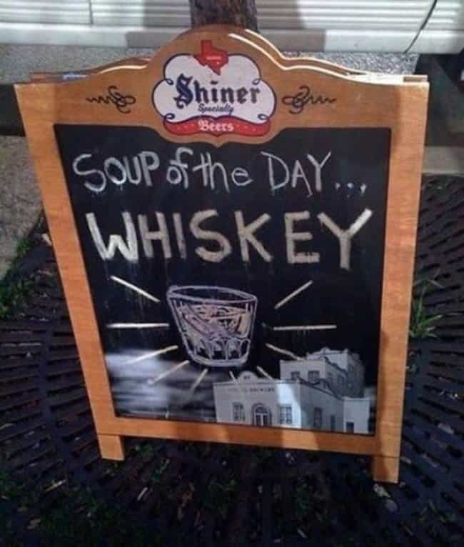 My Favorite Soup! is listed (or ranked) 3 on the list The 29 Funniest Chalkboard Signs Ever